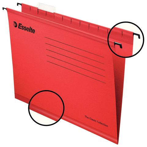 Подвесные папки А4/Foolscap (400х240 мм), до 300 листов, КОМПЛЕКТ 25 шт., красные, картон, ESSELTE