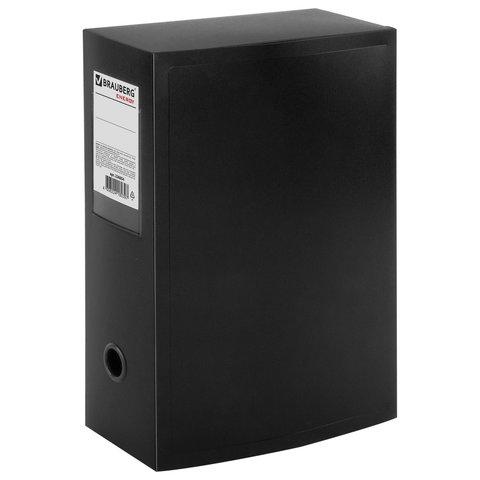 Короб архивный (330х245 мм), 100 мм, пластик, разборный, до 900 листов, черный, 0,9 мм, BRAUBERG