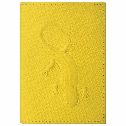 Обложка для паспорта натуральная кожа плетенка, с ящерицей, желтая, STAFF