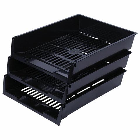 Лотки горизонтальные для бумаг, КОМПЛЕКТ 3 шт., 340х270х70 мм, черный, BRAUBERG