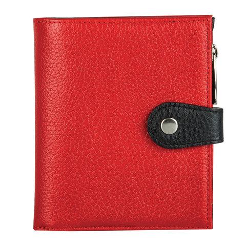 Портмоне женское FABULA, 110х130 мм, натуральная кожа, кнопка, красное с черным, PJ.186.BK