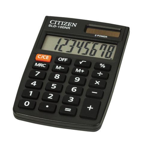 Калькулятор CITIZEN карманный SLD-100NR, 8 разрядов, двойное питание, 90х60 мм
