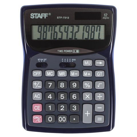 Калькулятор STAFF настольный STF-7312, 12 разрядов, двойное питание, 185х140 мм, 250190
