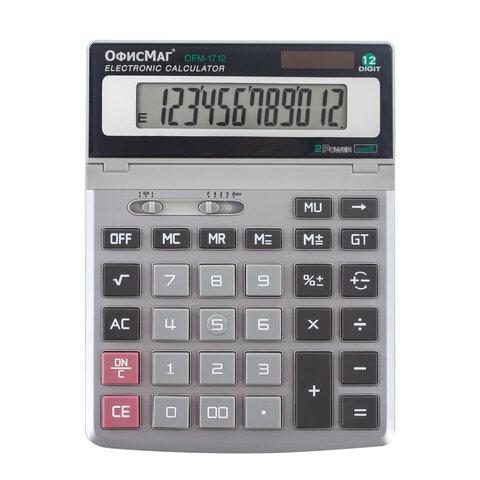 Калькулятор настольный металлический ОФИСМАГ OFM-1712 (200х152 мм), 12 разрядов, двойное питание, 250225