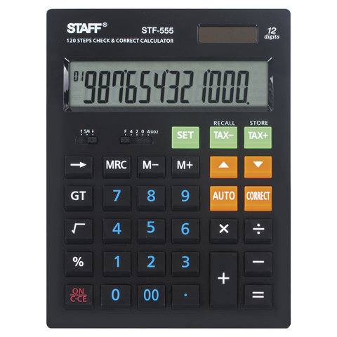 Калькулятор STAFF настольный STF-555-BLACK, 12 разрядов, CORRECT, TAX, ЧЕРНЫЙ, двойное питание, 205х154 мм, 250304