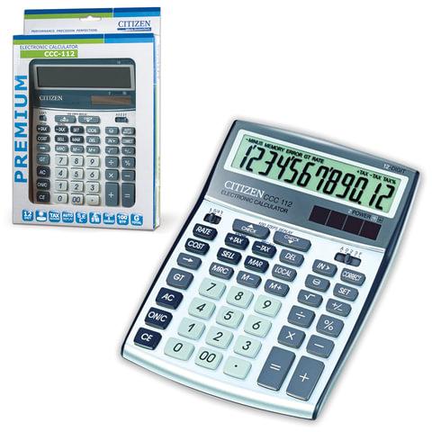 Калькулятор CITIZEN настольный CCC-112WB, 12 разрядов, двойное питание, 208x156 мм, ССC-112