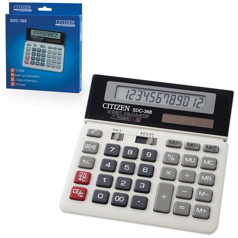 Калькулятор CITIZEN настольный SDC-368, 12 разрядов, двойное питание, 152x152 мм
