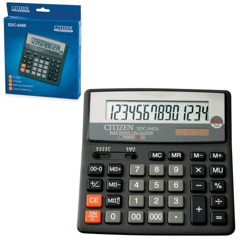 Калькулятор CITIZEN настольный SDC-640II, 14 разрядов, двойное питание, 159x156 мм