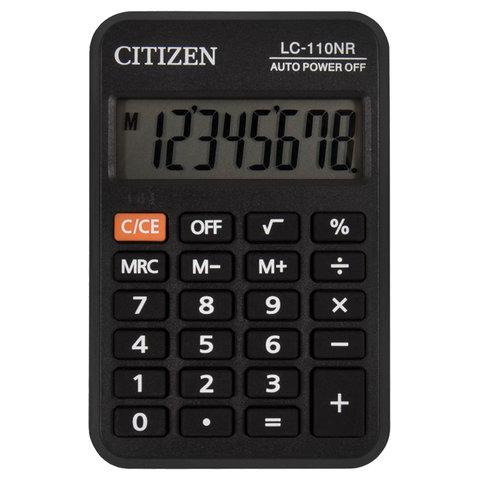 Калькулятор CITIZEN карманный LC-110NR, 8 разрядов, питание от батарейки, 58х87 мм, черный