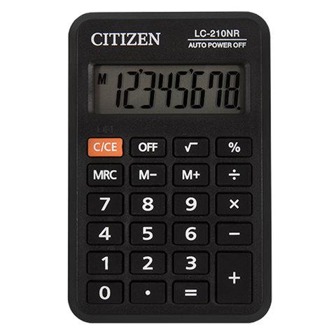 Калькулятор CITIZEN карманный LC-210NR, 8 разрядов, питание от батарейки, 98х62 мм
