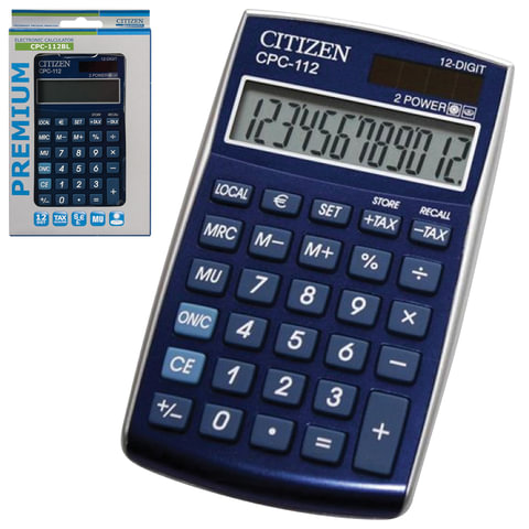 Калькулятор CITIZEN карманный CPC-112BLWB, 12 разрядов, двойное питание, 120х72 мм, синий