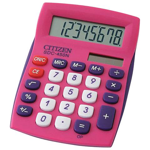 Калькулятор CITIZEN карманный SDC-450NPKCFS, 8 разрядов, двойное питание, 120х87 мм, РОЗОВЫЙ