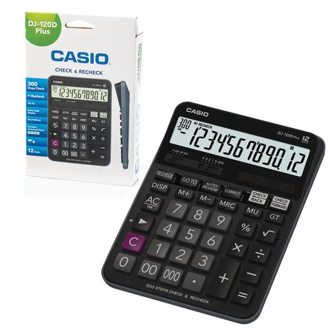 Калькулятор CASIO настольный DJ-120DPLUS-W, 12 разрядов, двойное питание, 192х144 мм, европодвес, черный, DJ-120DPLUS-W-E