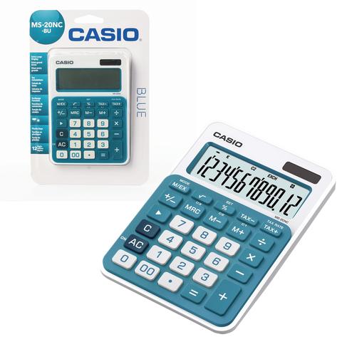 Калькулятор CASIO настольный MS-20NC-BU-S, 12 разрядов, двойное питание, 150х105 мм, блистер, белый/голубой, MS-20NC-BU-S-EC