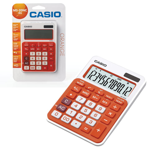 Калькулятор CASIO настольный MS-20NC-RG-S, 12 разрядов, двойное питание, 150х105 мм, блистер, белый/оранжевый, MS-20NC-RG-S-EC