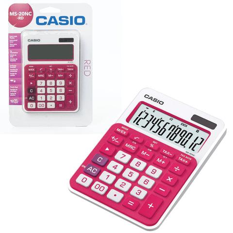 Калькулятор CASIO настольный MS-20NC-RD-S, 12 разрядов, двойное питание, 150х105 мм, блистер, белый/красный, MS-20NC-RD-S-EC