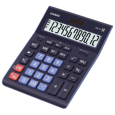 Калькулятор CASIO настольный GR-12-BU, 12 разрядов, двойное питание, 210х155 мм, темно-синий, GR-12-BU-W-EP