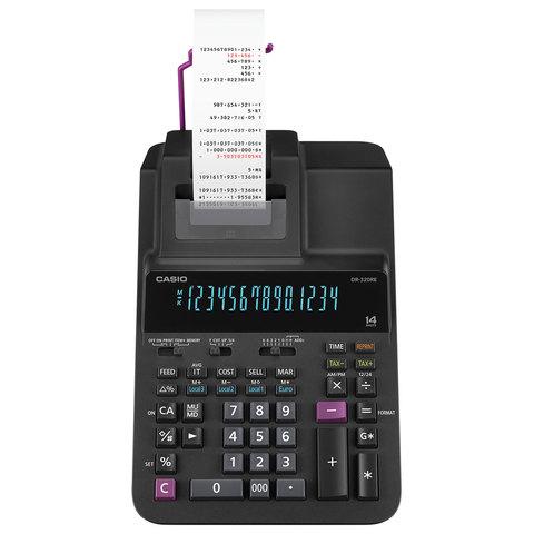 Калькулятор печатающий CASIO DR-320RE (377х255 мм), 14 разрядов, питание от сети, черный, DR-320RE-E-EC