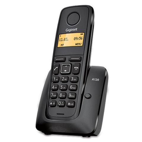 Радиотелефон GIGASET A120, память на 40 номеров, АОН, повтор, часы, черный, S30852H2401S301
