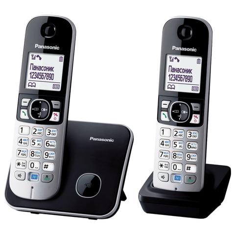 Радиотелефон PANASONIC KX-TG6812RUB + доп. трубка, память на 120 номеров, АОН, повтор, спикерфон, полифония, черный