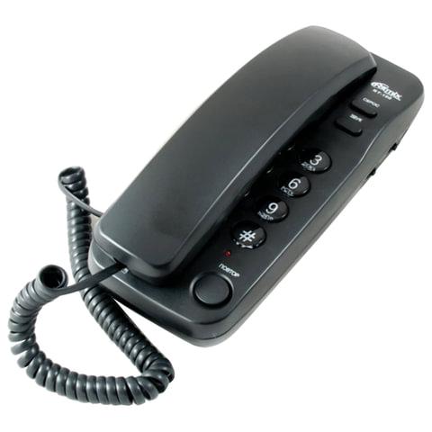 Телефон RITMIX RT-100 black, световая индикация звонка, отключение микрофона, черный, 15116194