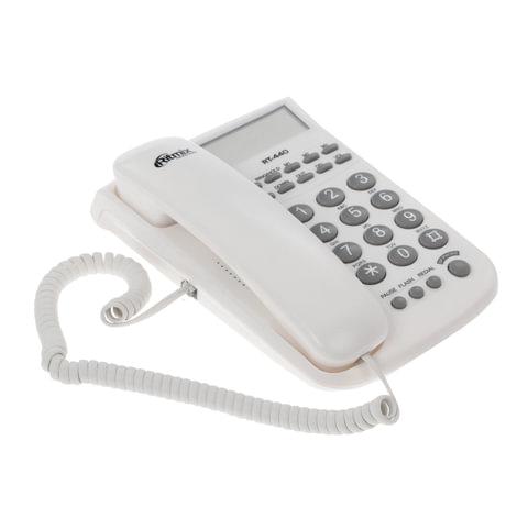 Телефон RITMIX RT-440 white, АОН, спикерфон, быстрый набор 3 номеров, автодозвон, дата, время, белый, 15118353