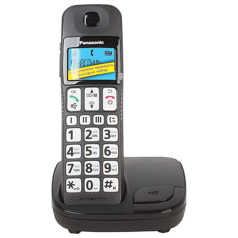 Радиотелефон PANASONIC KX-TGE110, память на 50 номеров, часы/будильник, черный