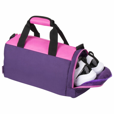 Сумка спортивная ЮНЛАНДИЯ с отделением для обуви, 40х22х20 см, фиолетовый/розовый, 270094