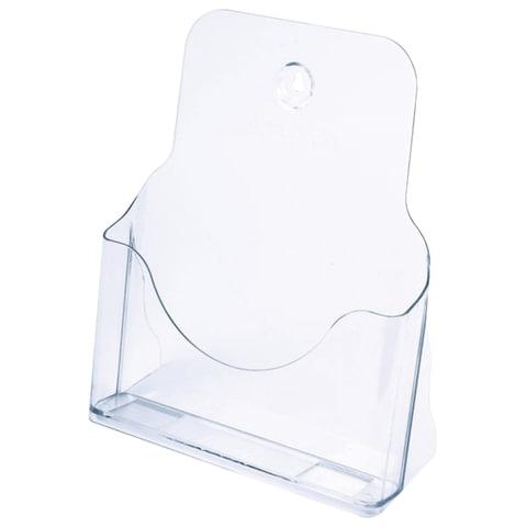 Подставка настольная/настенная для рекламных материалов (270х235х98 мм), А4, прозрачная, СТАММ, БК10