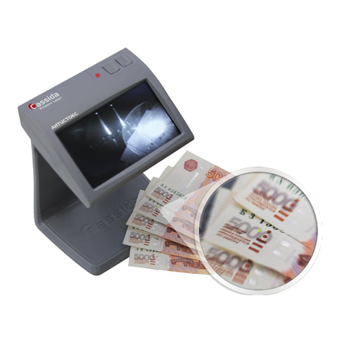 Детектор банкнот CASSIDA Primero Laser, ЖК-дисплей 11 см, просмотровый, ИК, антитокс, спецэлемент