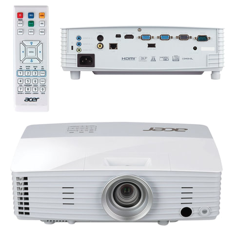 Проектор ACER P5327W, DLP, 1280x800, 16:10, 4000 лм, 20000:1, 2,5 кг, MR.JLR11.001