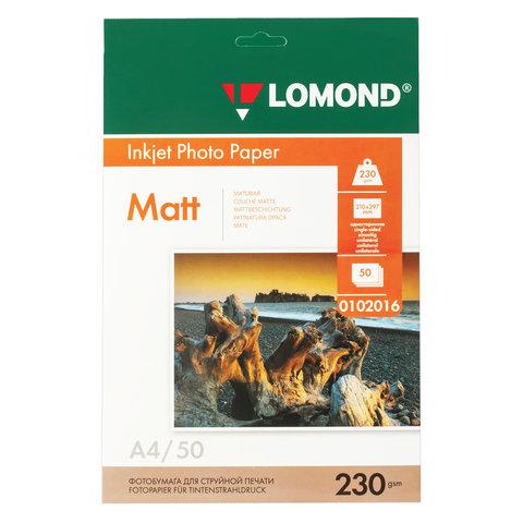 Фотобумага для струйной печати, А4, 230 г/м2, 50 листов, односторонняя матовая, LOMOND, 0102016