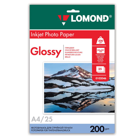 Фотобумага для струйной печати, А4, 200 г/м2, 25 листов, односторонняя глянцевая, LOMOND, 0102046