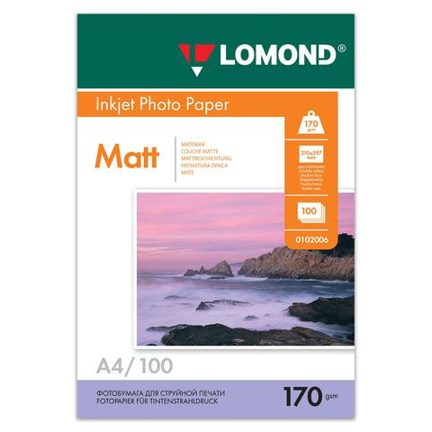 Фотобумага для струйной печати, А4, 170 г/м2, 100 листов, двухсторонняя матовая, LOMOND, 0102006