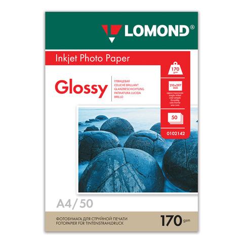 Фотобумага для струйной печати, А4, 170 г/м2, 50 листов, односторонняя глянцевая, LOMOND, 0102142