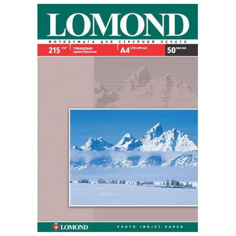 Фотобумага для струйной печати, А4, 215 г/м2, 50 листов, односторонняя глянцевая, LOMOND, 0102057