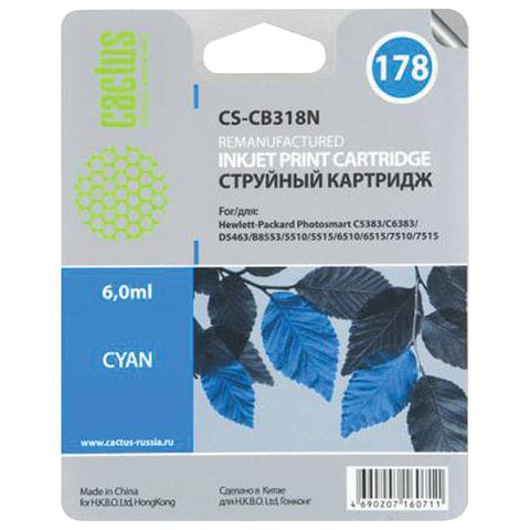 Картридж струйный CACTUS (CS-CB318/N) для HP Photosmart C6383/D5463, голубой, 6 мл, CS-CB318(N)