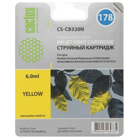 Картридж струйный CACTUS (CS-CB320/N) для HP Photosmart C6383/D5463, желтый, 6 мл, CS-CB320(N)
