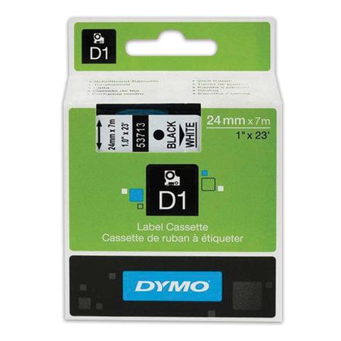Картридж для принтеров этикеток DYMO D1, 24 мм х 7 м, лента пластиковая, чёрный шрифт, белый фон, S0720930