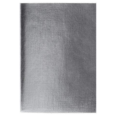 Тетрадь бумвинил, А4, 96 л., скоба, офсет 1, клетка, СЕРЕБРО Metallic, HATBER, 96Т4бвВ3