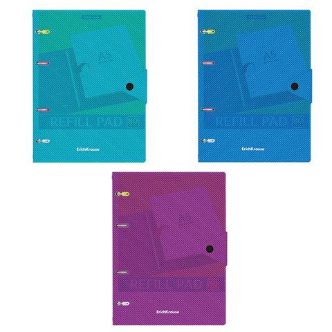 Тетрадь на кольцах А5 (147х205 мм), 80 л., пластик, клетка, на кнопке, ERICH KRAUSE,