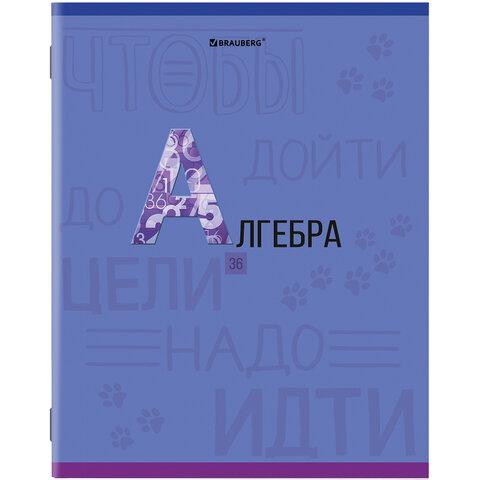 Тетрадь предметная К ЗНАНИЯМ 36 листов, обложка мелованная бумага, АЛГЕБРА, клетка, BRAUBERG, 403928