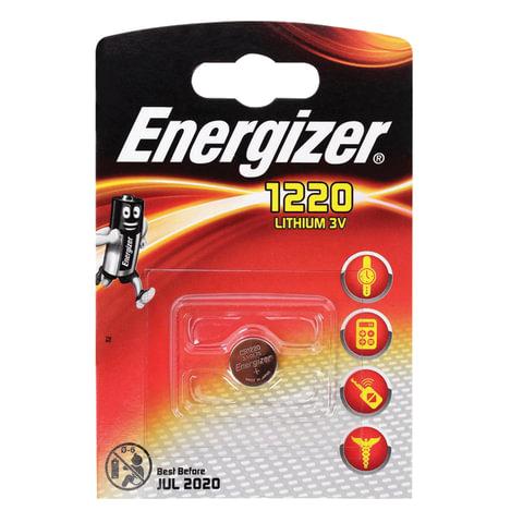 Батарейка ENERGIZER CR 1220, литиевая, d=12 мм, h=2,0 мм, в блистере (1 шт.), 3 В, 7638900052206