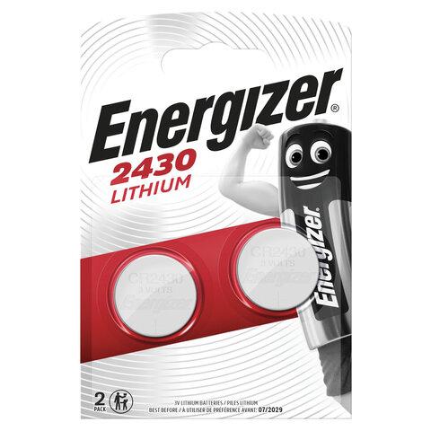 Батарейки ENERGIZER, CR 2430, литиевые, КОМПЛЕКТ 2 шт., в блистере, E300830301