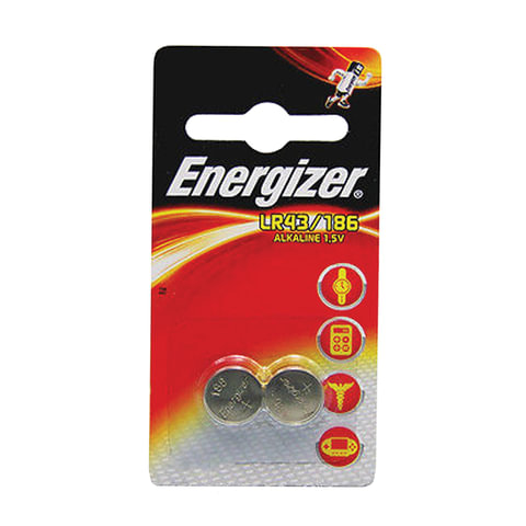 Батарейки ENERGIZER Alkaline 186 (G12, LR43), комплект 2 шт., в блистере, 1,5 В, 7638900393194