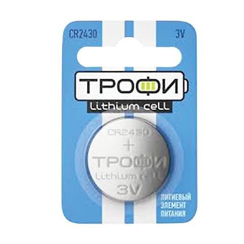 Батарейка ТРОФИ CR2430, литиевая, d=24 мм, h=3,0 мм, в блистере (1 шт.), 3 В, 5055398651704