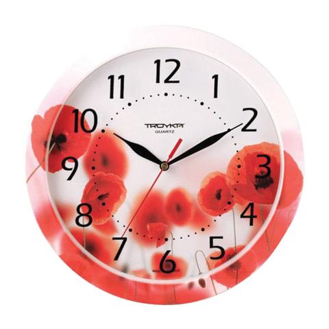 Часы настенные TROYKA 11000009, круг, белые с рисунком