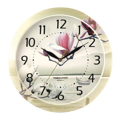 Часы настенные TROYKA 11000016, круг, белые с рисунком