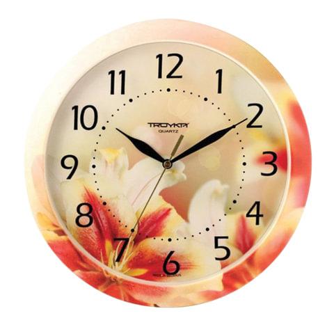 Часы настенные TROYKA 11000018, круг, белые с рисунком
