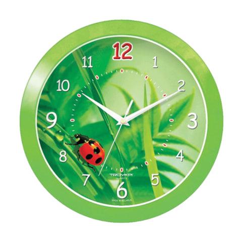 Часы настенные TROYKA 11121142, круг, зеленые с рисунком